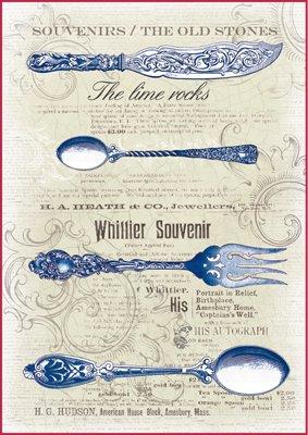 Paper Moon - Decoupage - Carta di riso A4 Blue Posate vintage