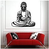 azutura Buddha-Figur Wandtattoo Indien Wand Sticker Religion Wohnkultur verfügbar in 5 Größen und 25 Farben Klein Schwarz