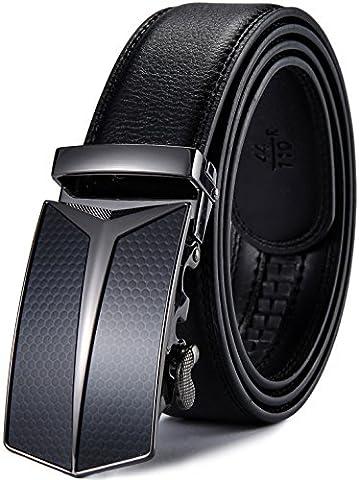Xhtang Men's Adjustable Leather Ratchet Belt Automatic Buckle L