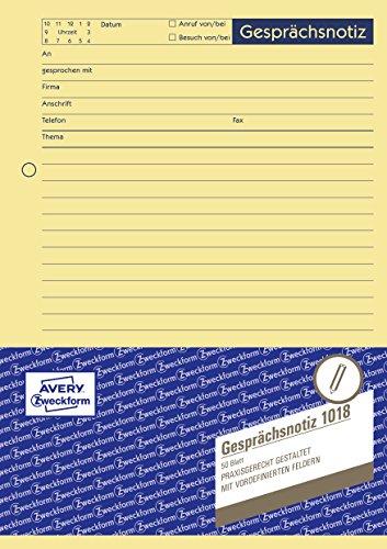 Preisvergleich Produktbild Avery Zweckform 1018 Gesprächsnotiz (A5, Abreißblock, oben verleimt, 50 Blatt) gelb