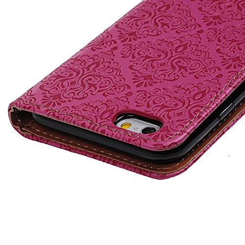 """YOKIRIN Flip Hülle für iPhone 6/6S (4.7"""") Wallet Case Flipcase Premium PU Leder Brieftasche Book Case TPU Innenschale Ledercase Handyhülle Folio Schutzhülle Handytasche Handyschale Standfunktion Kredi Rose Rot"""