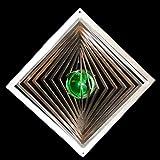 Edelstahl-Windspiel Quadrat hochkant Höhe -12cm x Breite -12cm mit Glaskugel Ø-35mm (grün) Für den Garten und als Fensterschmuck