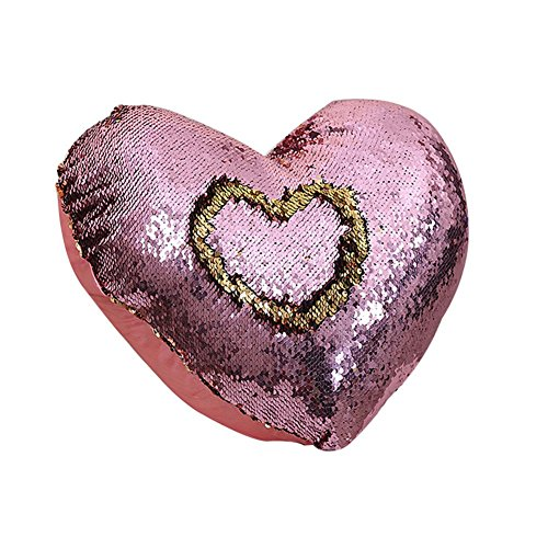Skgardeniamy cuscino decorativo a forma di sirena, double face, con paillettes, a forma di cuore, 35 x 40 cm, oro rosa, 35cm x 40cm