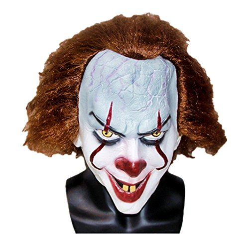 Maschera da clown pennywise per adulti deluxe accessori costume carnevale halloween film it cosplay joker idea regalo