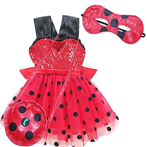 QYS Wunderbarer Marienkäfer verkleiden Sich Kostüm Kostüm für Mädchen Kinder Halloween Geburtstag Party Cosplay Urlaub Pageant Childs Outfit,Set,130cm (Das Marienkäfer Kostüm Party)