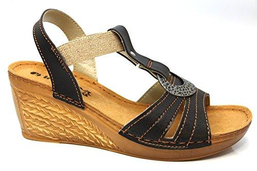 INBLU Femme bretelles Confort Mid Wedge d'été à talon sandales Taille 3–8 Noir - noir