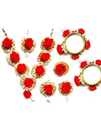 Bharat Sales Floret Jewelry Flower Gota Patti Jewelry Set With Earrings, Ring, Maang Tika & Bajuband For Women...