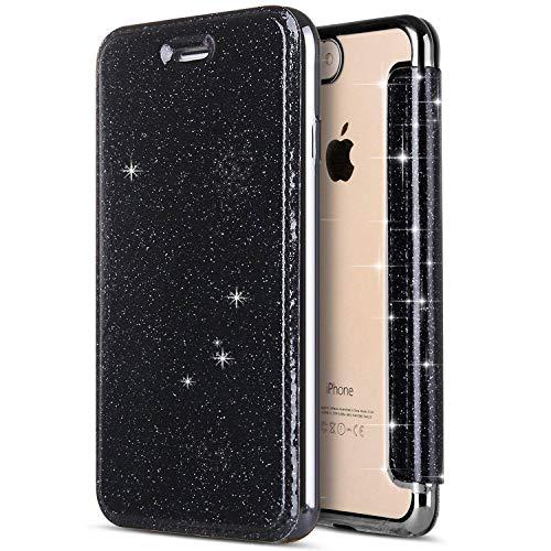 JAWSEU Funda Carcasa iPhone XR 360 Grados Completa Funda Bling Glitter PU Cuero Libro Billetera Tapa...