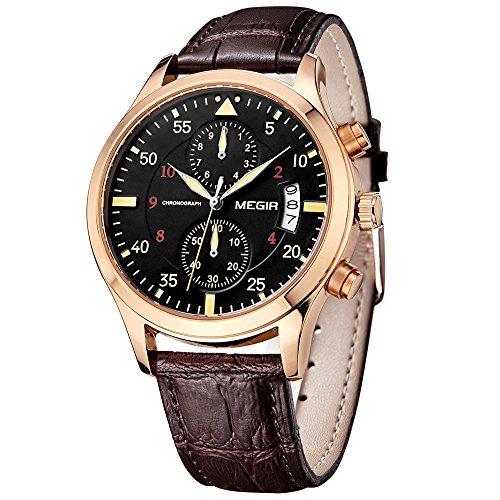 Megir Luxe - M2021GBN - Montre Homme - Quartz Analogique - Cadran Noir - Bracelet Cuir Marron - Chronographe