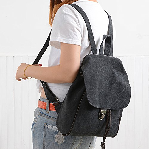 BYD - Donna School Bag zainetto backpack Travel Bag Canvas Bag Borse a mano Borse a spalla with Mutil Function Pocket and 1 Lock Clap Nero