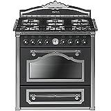 Smeg CC9GAS - Cocina (90 L, 3850 W, Eléctrico, Gas, Giratorio, Frente) Antracita
