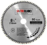 Saxton TCT21680T Lame de scie circulaire à bois avec dents en carbure de tungstène - 216x 30mm x alésage x 80dents pour Bosch Makita Dewalt