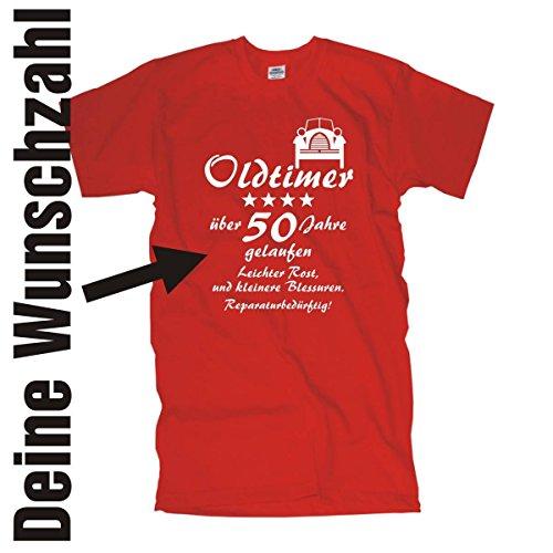 Oldtimer über 30 40 50 60 70 Jahre gelaufen leichter Rost und kleinere Blessuren reparaturbedürftig Geburtstags T-Shirt DEINE Wunschzahl (FSG065) Mehrfarbig