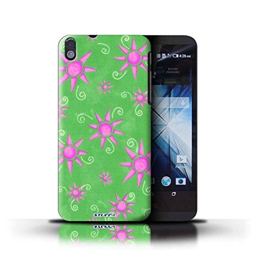 Kobalt® Imprimé Etui / Coque pour HTC Desire 816 / Jaune/Blanc conception / Série Motif Soleil Vert/Rose