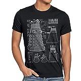 style3 Dalek Blaupause Herren T-Shirt who time Police Doctor Box Space dr TV, Farbe:Schwarz, Größe:5XL