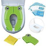 Riduttore Water Bambini, Portatile Pieghevole Per WC Viaggio, Potty Training, Copertura Igienica Monouso, Confezione 10 Pezzi (verde)