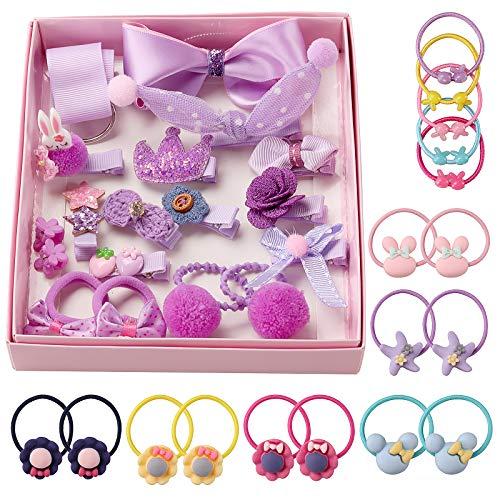 ädchen Haarschmuck Haarspangen Set Geschenkbox Haarclip Haarspange Nette Partei Bowknot Blume Multi Stil Haarnadel Band Rosa für kleine Mädchen Baby Kinder-Lila ()