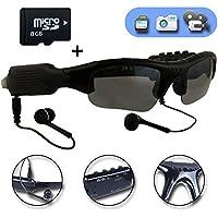 WOTUMEO Multifunktions Sonnenbrille MP3 Player Mini DV DVR Kamera Videoglas Spion Gläser Spion Kamera Fahrengläser Gläser + 8GB Speicherkarte nPsVdA