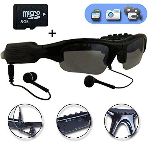 WOTUMEO Multifunktions Sonnenbrille MP3 Player Mini DV DVR Kamera Videoglas Spion Gläser Spion Kamera Fahrengläser Gläser + 8GB Speicherkarte Multifunktions-video