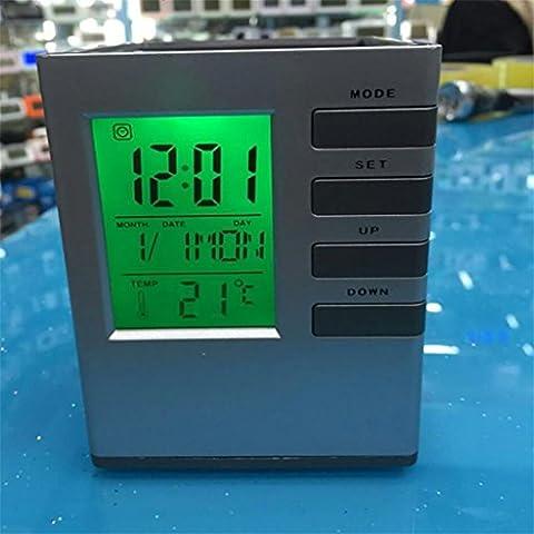 LIU@-Penna multifunzionale titolare calendario orologio cancelleria penna e-calendario , silver green light - Messaggio Cancelleria