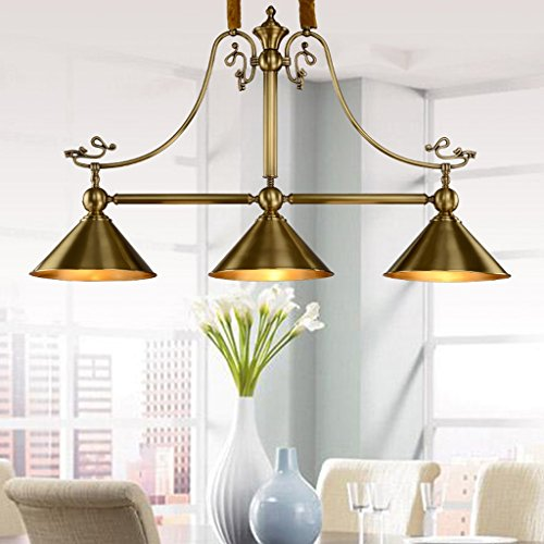 Edge To Kronleuchter American Kupfer Lampe voll von Kupfer Kronleuchter Kreatives einfaches Licht drei rechteckige Bar Zähler Lampen -
