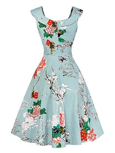 Druck-Kleid Damen Vintage Rockabilly Faltenrock Partykleider Cocktailkleider Grün