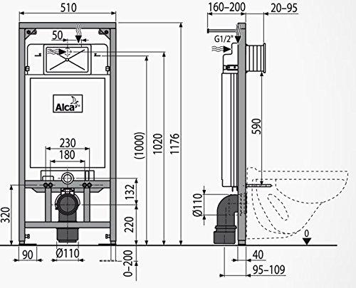 WC Vorwandelement für Trockenbau 120 cm inklusive Betätigungsplatte Schwarz Typ Cube Unterputzspülkasten Spülkasten Wand WC hängend Schallschutz