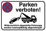 Parken verboten Alu-Schild inkl. 4 Lochbohrungen (4 mm) | 30 x 20 cm |