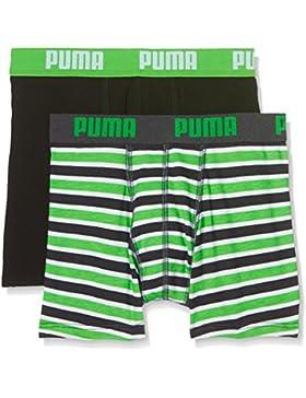 Puma Basic Boxer Printed Stripe 2P, Bóxer para Niños, Verde (Classic Green), 140 (Talla de Fabricante: 9-10 Años)