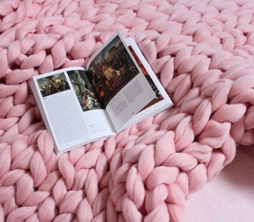 Kqpoinw Gestrickte Decke, Grobe Strickdecke Merino Wolle Garn Arm stricken werfen Super große klobige stricken Decke Haustier Bett Stuhl Sofa Yoga Matte Teppich (79 * 79inches(200 * 200cm), Pink)