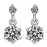 End of line clearance, Women Fashion 925 Sterling Silver with Sparkly Quartz Crystal Round Shaped Stud Earrings