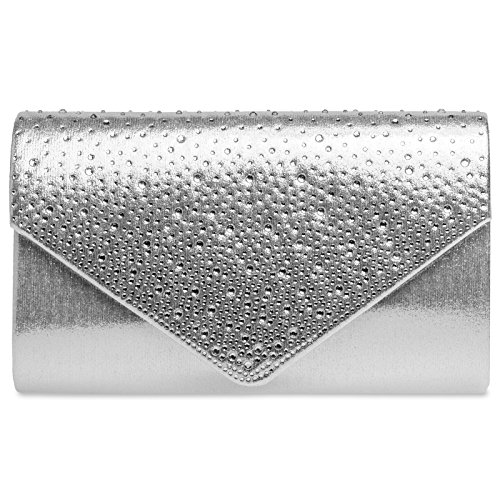 Caspar TA423 elegante Damen Envelope Clutch Tasche Abendtasche mit Strass Dekor, Farbe:silber, Größe:One Size -
