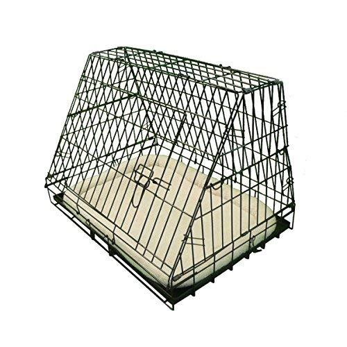 Ellie-Bo Crate Deluxe Inclinato Cucciolo Gabbia Pieghevole Cane con Non-Chew Metallo Vassoio in Pile e Slant Anteriore per Auto, Media, da 30 Pollici, Il Nero