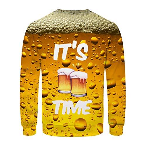 Realde Herren Langarmshirt 3D Beer Festival T-Shirt Oberteile Oktoberfest Kostüm Crew Neck Basic O-Ausschnitt Shirt Slim Fit Top Herbst und Winter Moderner Männer Pulli Sweatshirt (Herren Retro Ringer Kostüm)
