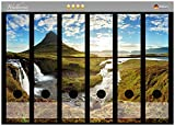 Wallario Ordnerrücken Sticker Island Panorama Fluss, Berge und Blauer Himmel in Premiumqualität - Größe 36 x 30 cm, passend für 6 breite Ordnerrücken