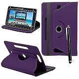 25,4cm Universal PU-Leder 360° Grad drehbar Winkel Ständer Case Cover Folio mit LCD Touch Screen Stylus Pen (lila)