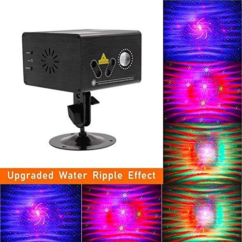 FUTER Robustes 80-Texturen-RGB-Tanzparty-Fernbedienungslicht, Wasser-Ripple-Feuerwerkssound, aktiviert, automatisches Disco-Beam-Licht (Laser-licht-show-maschine)