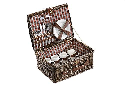 Kobolo Picknickkoffer Picknickkorb mit Zubehör für 4 Personen