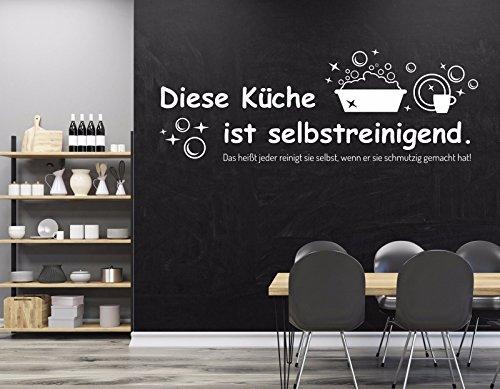 tjapalo® w-pkm167 100x34 Wandtattoo Küche kochen Wandtattoo modern Wandsticker Spruch diese Küche ist selbstreinigend (B130 x H46 cm)