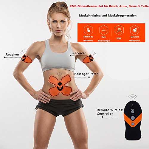 Multifunction Body Training Slimming Massager,Rechargeable Health Care Electronic Stimulation Unit Muscle Relax 3 Pads
