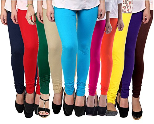 Pixie Women\'s Cotton Lycra 4 Way Stretchable Churidar Leggings Combo (Pack of 10) - Free Size