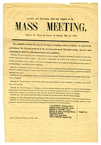 POSTER A3 Preamble and resolutions read and adopted at the mass meeting held in the town of Sonora, on Sunday, July 21, 1850
