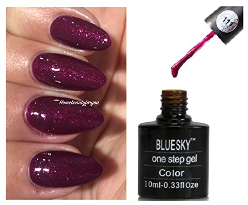 7c0bd45c5a41 Blue Sky One Step 111 Rouge framboise Rose Sparkle Vernis à ongles gel UV  LED Soak Off 10 ml