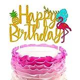 Jevenis glitter fenicottero Happy Birthday cake topper per torta di ananas decorazione per feste a tema Tropical Hawaiian Luau