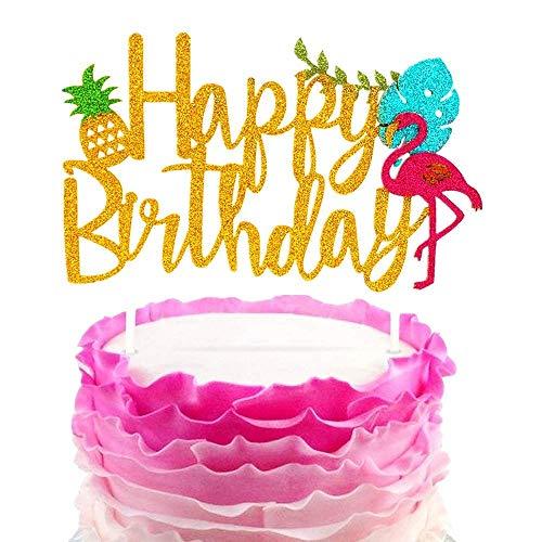 JeVenis - Decoración para tarta de cumpleaños, diseño de flamencos, con purpurina, para fiestas, diseño hawaiano Decoración para tarta de fiesta tropical: hecha a mano y con diseños de moda, adornos para tartas de primer cumpleaños. Decoración para t...