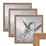 PHOTOLINI 3er Set Landhaus-Bilderrahmen 30x30 cm Eiche-Optik Massivholz mit Glasscheibe und Zubehör/Fotorahmen