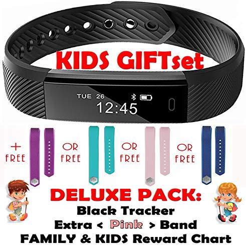 Fitness Tracker für Kinder von Trendy Pro, Smartwatch, Activity Tracker, mit 2 Armbändern, Kinder, TRENDY PRO, Black and Color Band (Deluxe Pink), Deluxe