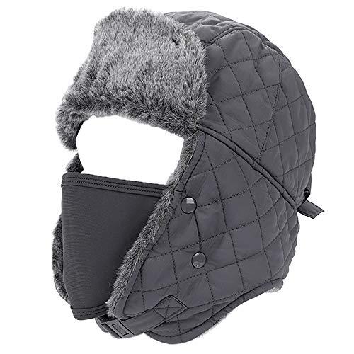 Pasamontañas esquí unisex grueso cálido resistente al viento máscara  completa Ushanka Trapper Rusia sombrero sintética orejera ceafdbcb962