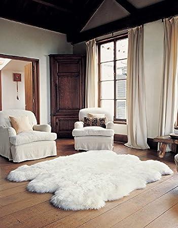 Schaffell Lammfell Teppich Kaminvorleger Wohnzimmerteppich 6 Fach 180x160cm Weiss Amazonde Kche Haushalt