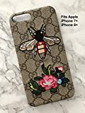 Quality Case UK - Apple iPhone 7 / 7+ Plus Faux Leather LV Designer Cases - Black, White or Brown / Gold (G Bee 7+)